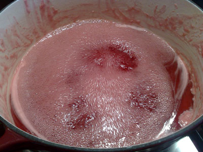 Homemade jelly boiling